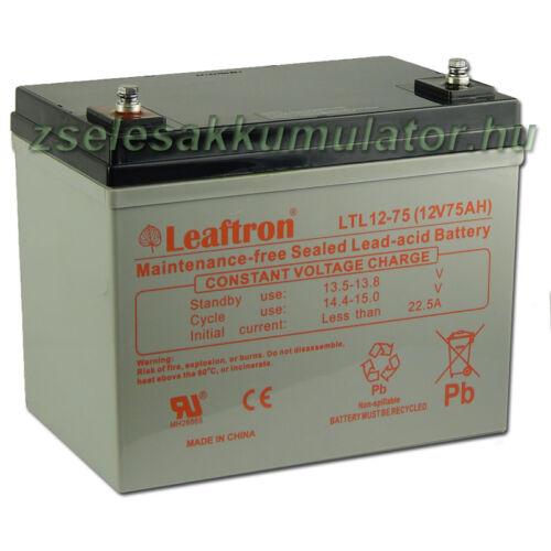 Leaftron 12V 75Ah Zselés akkumulátor LTL12-75