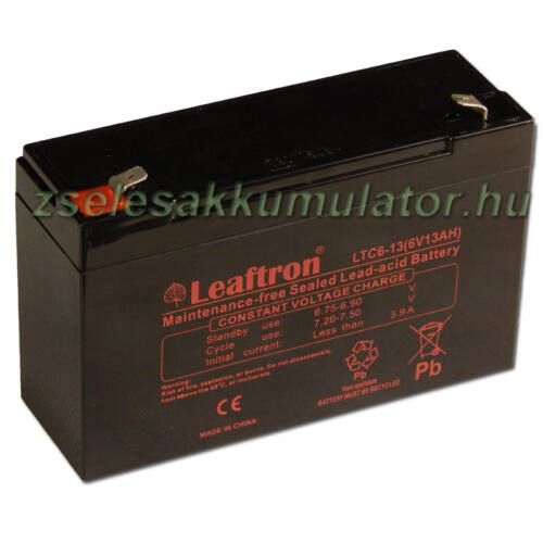 Leaftron 6V 13Ah (12Ah méretben) Ciklikus Zselés akkumulátor LTC6-13