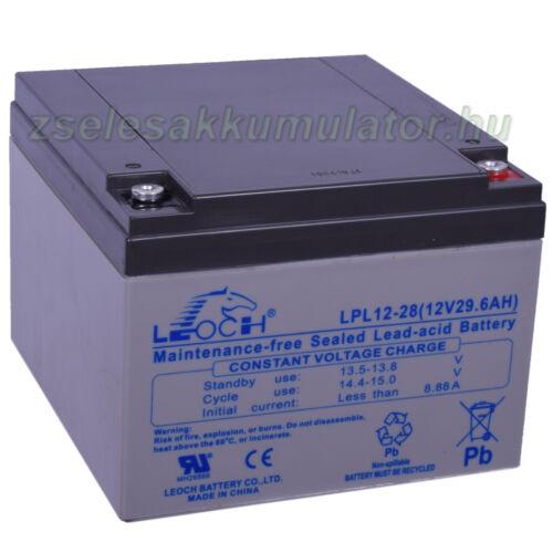 Leoch 12V 28Ah Longlife Zselés akkumulátor LPL12-28