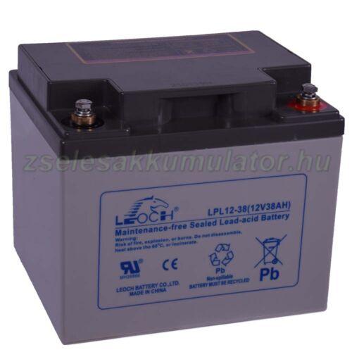 Leoch 12V 38Ah LPL12-38 zselés akkumulátor