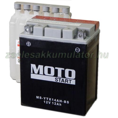 MotoSTART YTX14AH-BS 12V 12Ah gondozásmentes AGM (zselés) motor akkumulátor