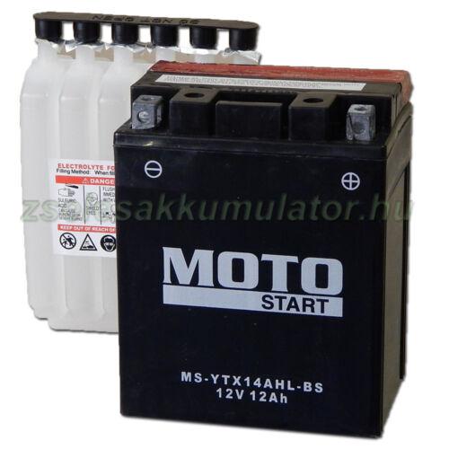 MotoSTART YTX14AHL-BS 12V 12Ah gondozásmentes AGM (zselés) motor akkumulátor