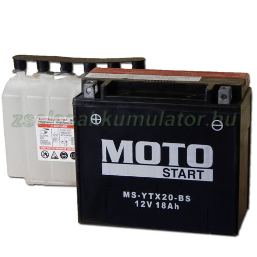 MotoSTART YTX20-BS 12V 18Ah gondozásmentes AGM (zselés) motor akkumulátor
