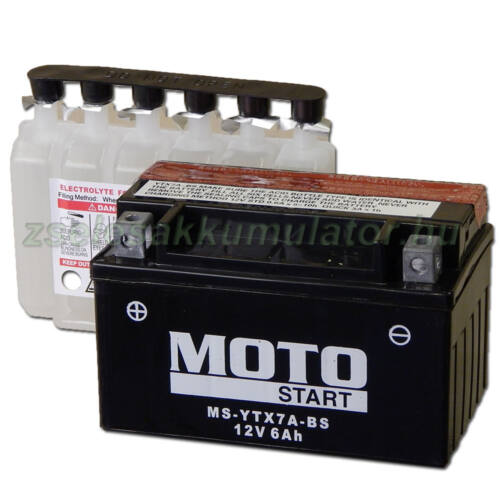 MotoSTART YTX7A-BS 12V 6Ah gondozásmentes AGM (zselés) motor akkumulátor