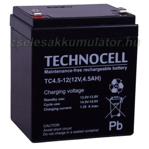 Technocell 12V 4,5Ah zselés akkumulátor