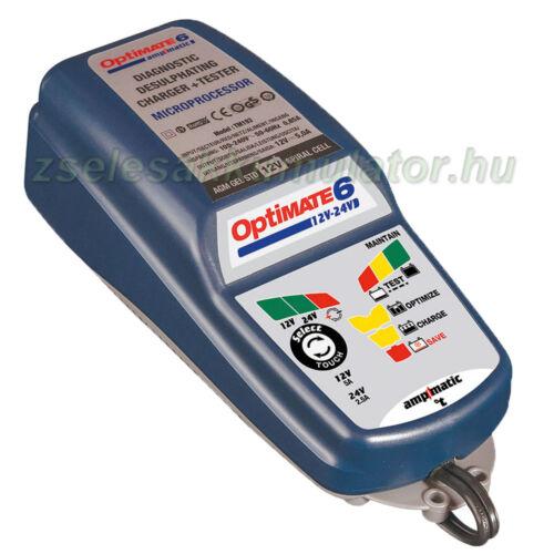 TecMate Optimate 6 12V 24V akkumulátor töltő