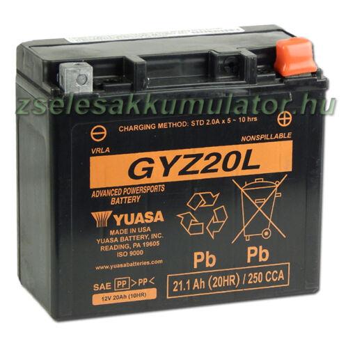 Yuasa GYZ20L 12V 20Ah gondozásmentes AGM (zselés) motor akkumulátor