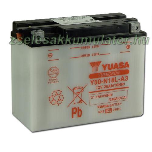 Yuasa Y50-N18L-A3 12V 20Ah Motor akkumulátor sav nélkül
