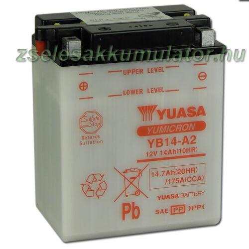 Yuasa YB14-A2 12V 14Ah Motor akkumulátor sav nélkül