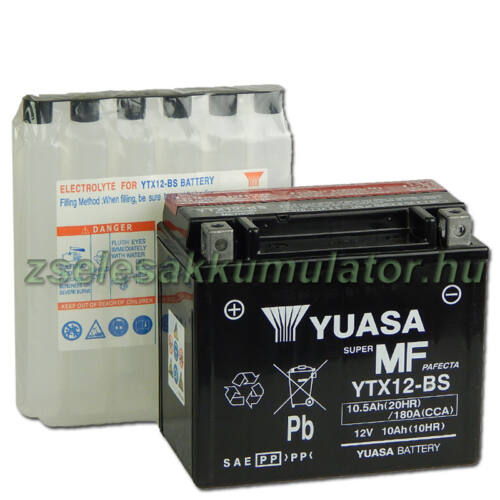 Yuasa YTX12-BS 12V 10Ah gondozásmentes AGM (zselés) motor akkumulátor