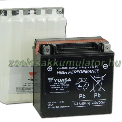 Yuasa YTX14H-BS 12V 12Ah gondozásmentes AGM (zselés) motor akkumulátor
