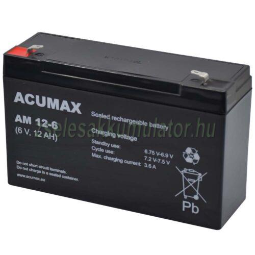 Acummax AM 12-6  6V 12Ah Zselés akkumulátor