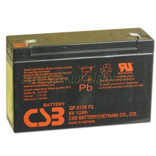 CSB 6V 12Ah GP6120 F2 zselés akkumulátor