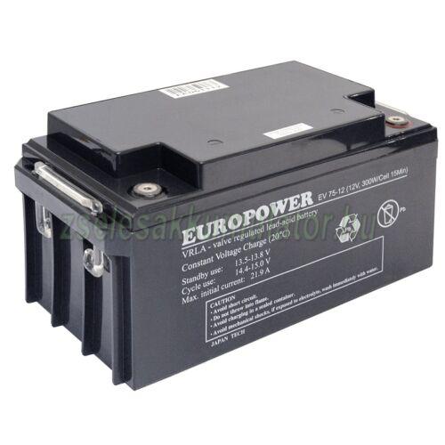 Europower 12V 75Ah EV75-12 zselés akkumulátor