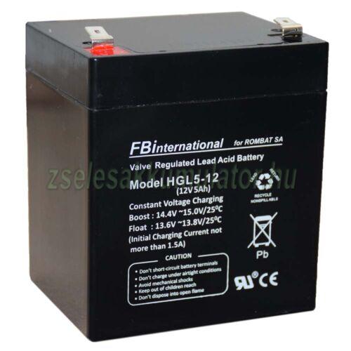 FBInternational12V 5Ah Zselés akkumulátor HLG5-12