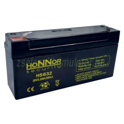 Honnor Security 6V 3,2Ah zselés akkumulátor
