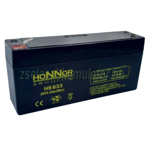 Honnor Security 6V 3,3Ah zselés akkumulátor