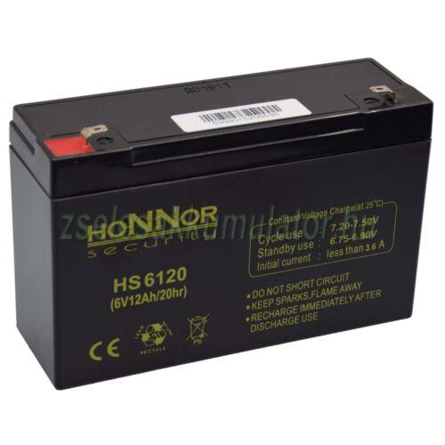 6V 12Ah honnor security zselés akkumulátor HS6120