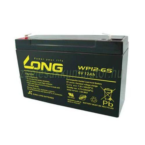 Long 6V 12Ah Zselés akkumulátor WP12-6S
