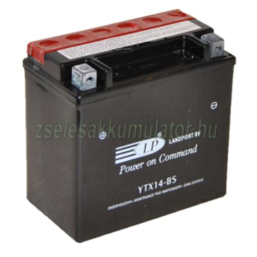 Landport YTX14-BS 12V 12Ah gondozásmentes AGM (zselés) motor akkumulátor
