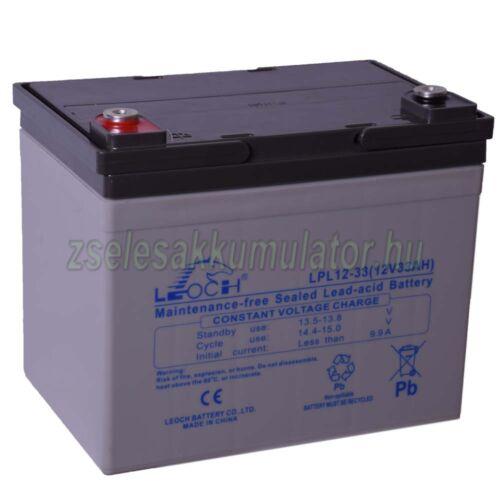 Leoch 12V 33Ah Zselés akkumulátor LPL12-33