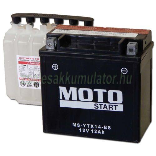 MotoSTART YTX14-BS 12V 12Ah gondozásmentes AGM (zselés) motor akkumulátor