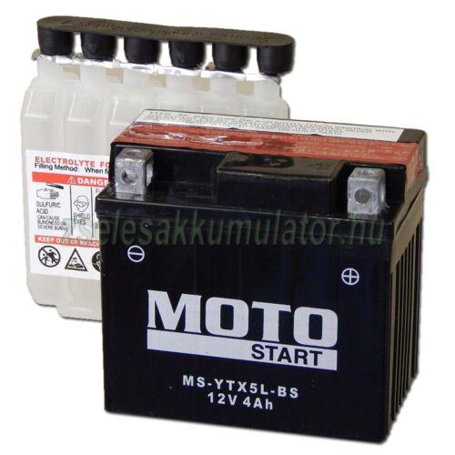 MotoSTART YTX5L-BS 12V 4Ah gondozásmentes AGM (zselés) motor akkumulátor