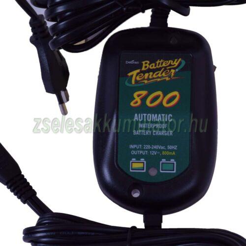 Battery Tender Waterproof 800, Zselés, ólom savas, AGM, akkumulátor töltő 12V 0,8A töltőáram