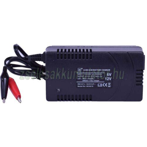 MVA818 tip. 6V-12V Zselés akkumulátor töltő, automatikus feszültség beállítással