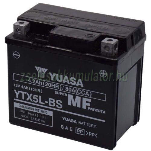 Yuasa YTX5L-BS 12V 4Ah gondozásmentes AGM (zselés) motor akkumulátor