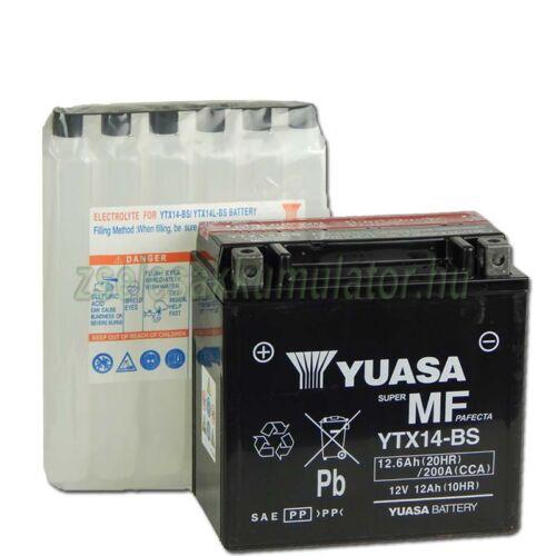 uasa YTX14-BS 12V 12Ah gondozásmentes AGM (zselés) motor akkumulátor