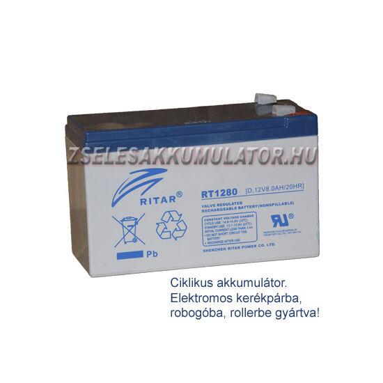 Ritar 12V 8Ah Ciklikus zselés akkumulátor elektromos kerékpárba