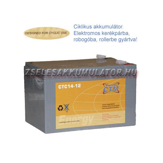 CTM 12V 14Ah Ciklikus zselés akkumulátor elektromos kerékpárba