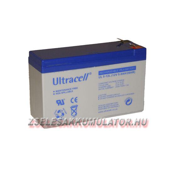 Ultracell 12V 5Ah Zselés akkumulátor