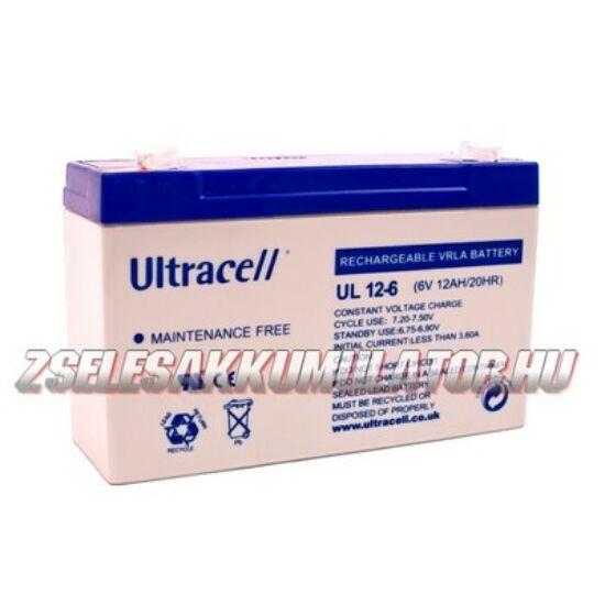 Ultracell 6V 12Ah Zselés akkumulátor