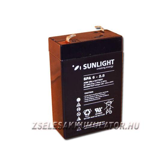 Sunlight 6V 2,8Ah Zselés akkumulátor