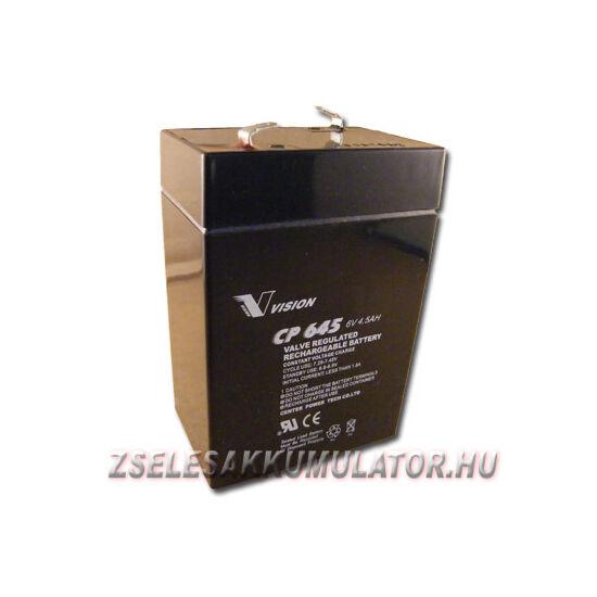 Vision 6V 4,5Ah Zselés akkumulátor