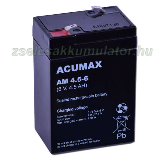 Acumax 6V 4,5Ah Zselés akkumulátor AM 4,5-6