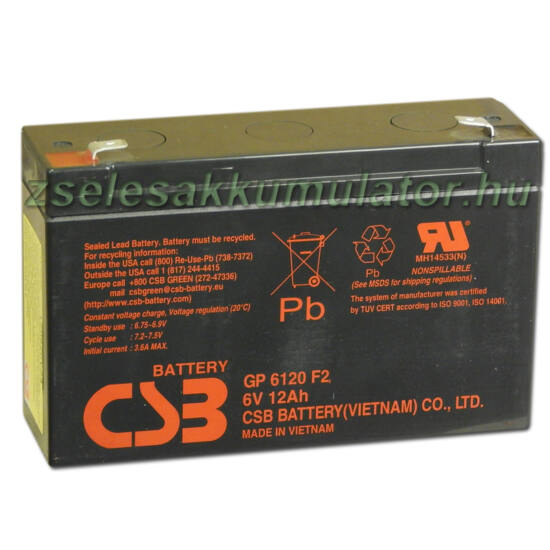 CSB 6V 12Ah Zselés Akkumulátor GP 6120 F2