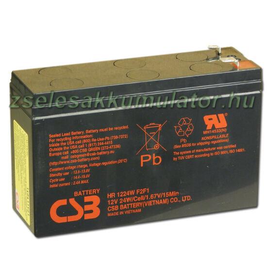 CSB 12V 6,4Ah Zselés Akkumulátor HR 1224W F2 F1
