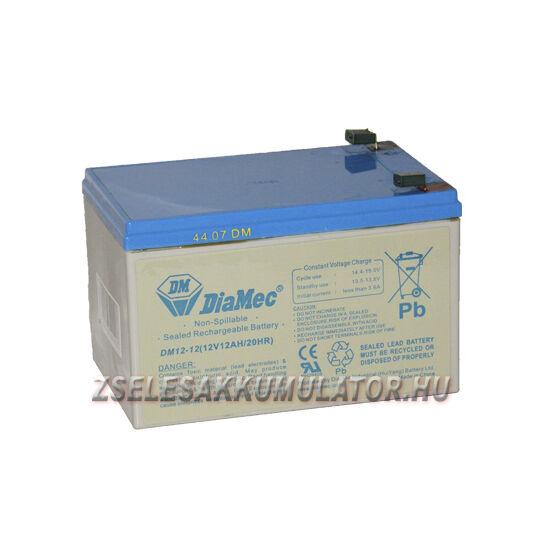 Diamec 12V 12Ah Zselés akkumulátor