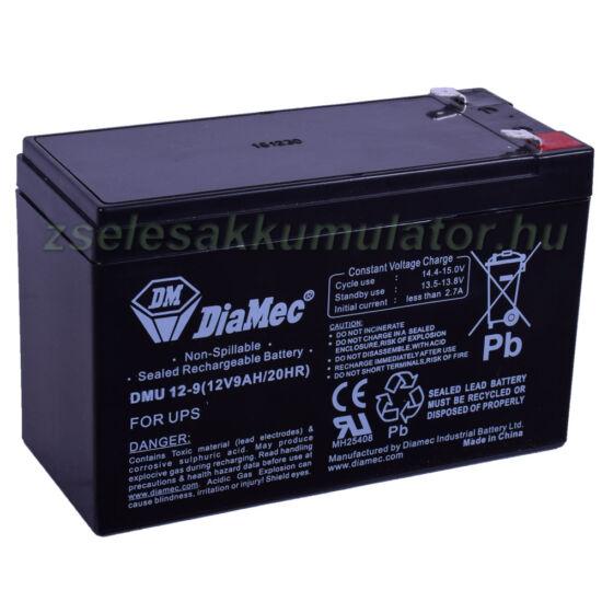 Diamec 12V 9Ah T2 Zselés akkumulátor