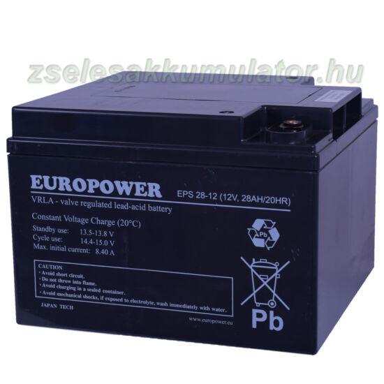 Europower 12V 28Ah Zselés akkumulátor EPS28-12