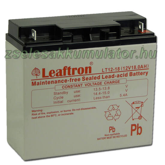 Leaftron 12V 18Ah  Zselés akkumulátor LT12-18