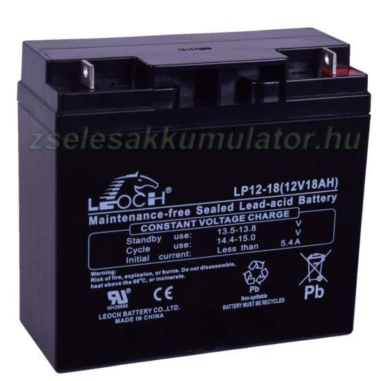Leoch 12V 18Ah T3 lemezes csatlakozós akkumulátor