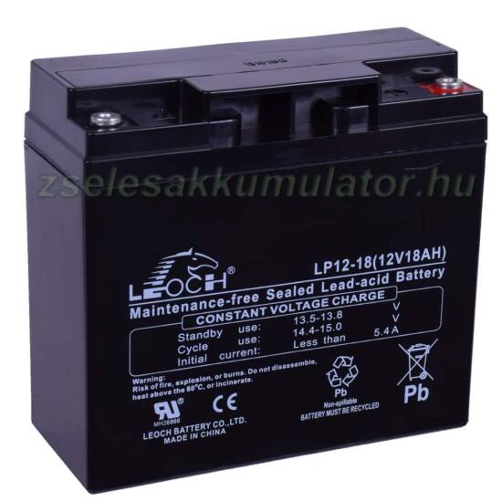 Leoch 12V 18AH zsákfuratos akkumulátor