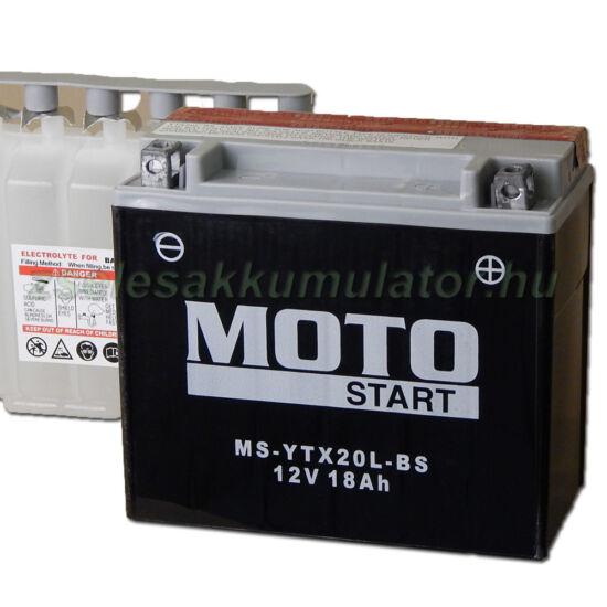 MotoSTART YTX20L-BS 12V 18Ah gondozásmentes AGM (zselés) motor akkumulátor