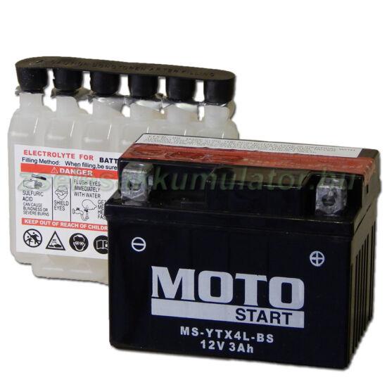 MotoSTART YTX4L-BS 12V 3Ah gondozásmentes AGM (zselés) motor akkumulátor