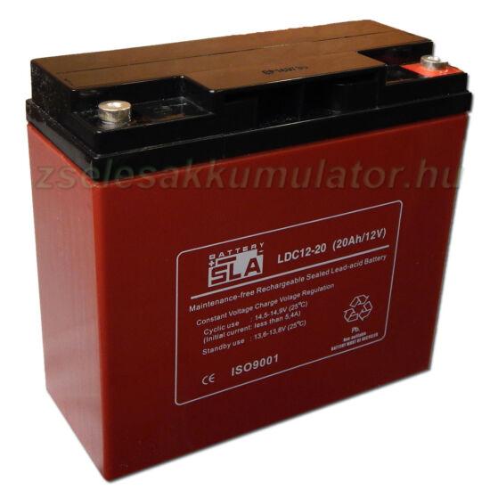 SLA LDC12-20 ciklikus zselés akkumulátor 12V 20Ah
