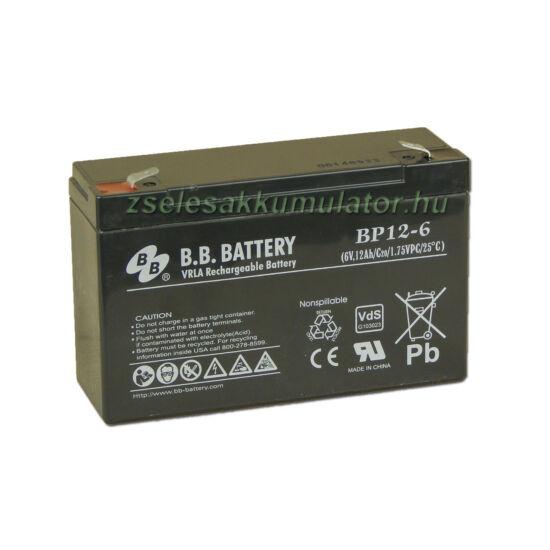 BB Battery 6V 12Ah Zselés akkumulátor